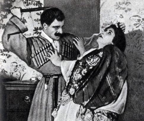 'Намус'. Реж. А. Бек-Назаров. (Рустам - Г. Нерсесян, Сусанна - М. Шахубатян-Татиева.) 1926
