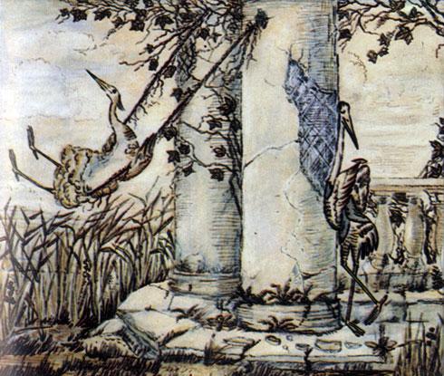 'Цапля и Журавль'. Реж. Ю. Норштейн, худ. Ф. Ярбусова. 1974