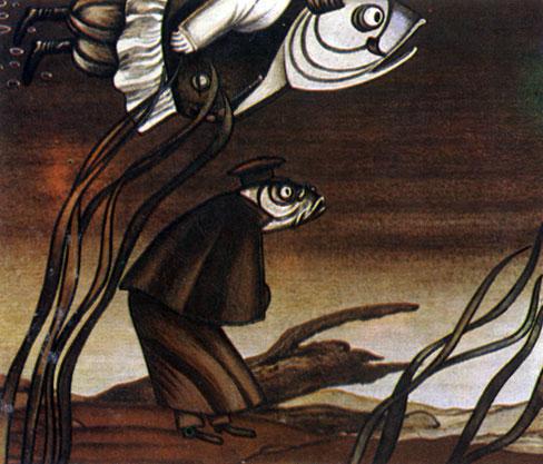 'Премудрый пескарь'. Реж. В. Караваев, худ. С. Алимов. 1979