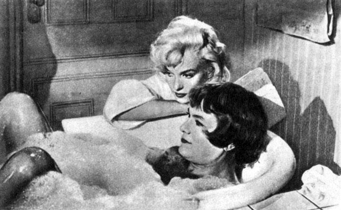 'Некоторые любят погорячее'. Реж. Б. Уайлдер. (Актёры М. Монро и Т. Кёртис.) 1959