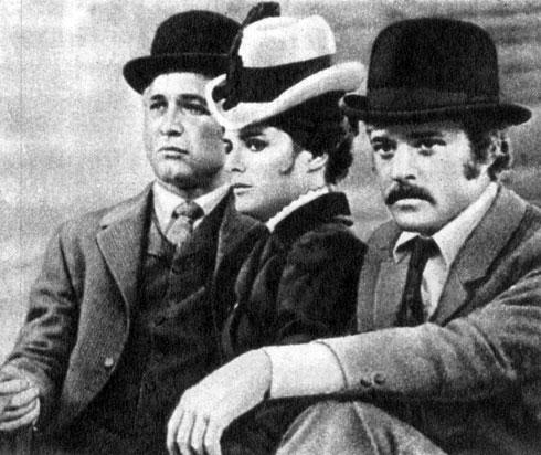 'Буч Кэссиди и Санденс Кид'. Реж. Дж. Рой Хилл. (Актёры П. Ньюмен, К. Росс и Р. Редфорд.) 1969