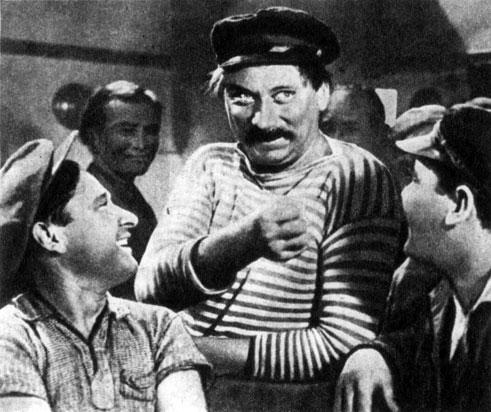 'Танкер 'Дербент''. Реж. А. Файнциммер. (В центре Догайло - В. Меркурьев.) 1941